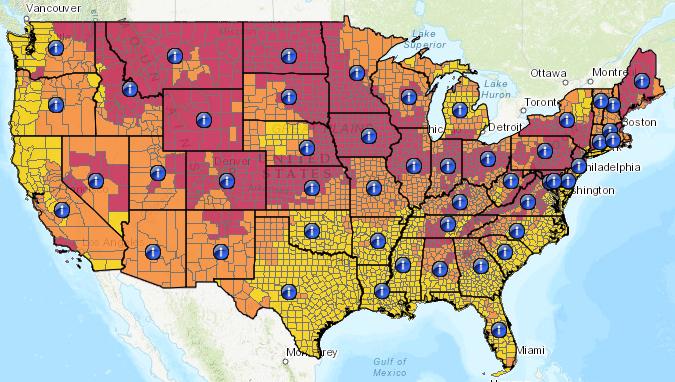 Map of radon emission levels in the U.S.