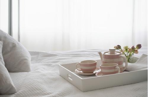 breakfast tray in bedroom