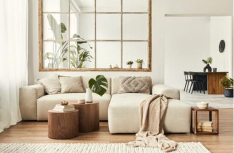 Modern interior of open space with design modular sofa