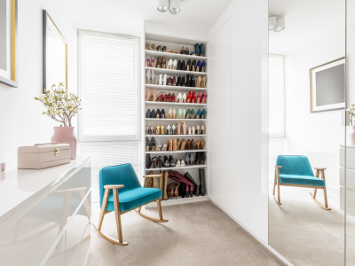 staged closet with organized shoes