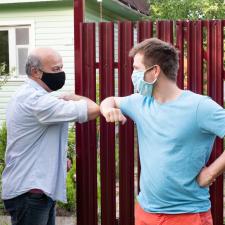 neighbors greeting using elbows